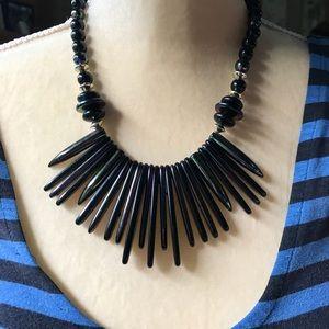Jewelry - Vintage Retro '70s Black Chunky Plastic Necklace!